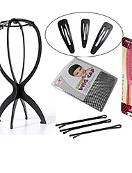 Folding Stable Durable Wig Accessories Tools 1Pc Wig Stands with 6 Clips for Hair Style(Black or Pink)