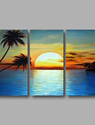Ručně malované Krajina / Abstraktní krajinkaModerní Tři panely Plátno Hang-malované olejomalba For Home dekorace