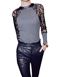 cheap -Women's Lace Lace Black/Gray T-shirt,Sexy Crew Neck Long Sleeve Splicing