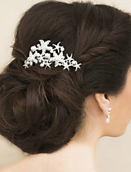 Vintage Charming Design Wedding Bride  Starfish Headband Cown Crystal Gold Hair Accessior Mermaid