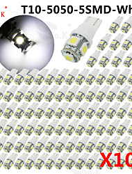 cheap -100 X blue blue Ice RED green yellow White Pink T10 /921/912 Interior/License Plate SMD Light Bulbs 5050 5-LED