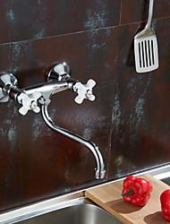Moderne Bar / accessoires Montage mural Soupape en laiton Deux poignées Deux trous Chrome , Robinet de Cuisine