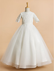 cheap -A-Line Tea Length Flower Girl Dress - Tulle Short Sleeves Jewel Neck with Lace by LAN TING BRIDE®