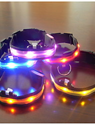 Dog Collar LED Lights Adjustable / Retractable Textile Plastic Red Green Blue Pink Rainbow