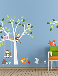 cheap -Wall Stickers Wall Decals Style New Monkey Owl Tree Waterproof Removable PVC Wall Stickers