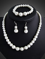 cheap -Women's Pearl Jewelry Set - Pearl, Silver Plated Party, Link / Chain, Elegant Include Drop Earrings Pearl Necklace White For Wedding Party Special Occasion
