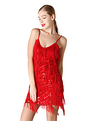 Latin Dance Dresses Women's Performance Spandex Tassel(s) 1 Piece Sleeveless Dress