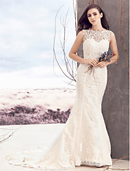 cheap -Sheath / Column Bateau Neck Court Train Lace Tulle Custom Wedding Dresses with Appliques Button by LAN TING BRIDE®