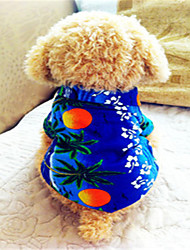 Dog Shirt / T-Shirt Dog Clothes Holiday Fashion Floral / Botanical Blue Costume For Pets
