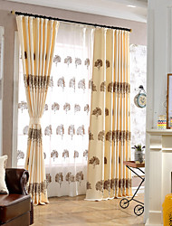 Недорогие -2 шторы Современность Цветочные / ботанический В соответствии с фото Спальня Лен/хлопок Шторы занавески затемнения