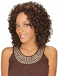 cheap -Synthetic Hair Wigs Curly African American Wig Middle Part Natural Wigs Medium Brown