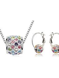 baratos -Mulheres Cristal Conjunto de jóias Brincos / Colares - Rosa / Azul / Arco-Íris Para Casamento / Festa / Aniversário