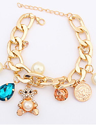 MISSING U Cute / Party Alloy / Gemstone & Crystal / Cubic Zirconia / Imitation Pearl Link/Chain / Charm Bracelet