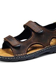 Masculino-Sandálias-ConfortoCastanho Escuro-Pele Napa-Ar-Livre Casual Social
