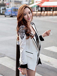 cheap -DABUWAWA Women's Patchwork White Blazer , Work / Casual / Day Shirt Collar Long Sleeve