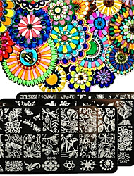 cheap -Nail Polish Scraper Art Forest Garden Plants Stamping Image Plates Set Manicure Stencil Tool