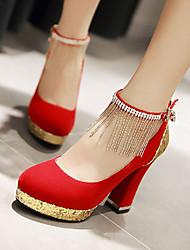 baratos -Mulheres Sapatos Courino Primavera / Verão Salto Robusto Mocassim Preto / Vermelho / Azul / Casamento