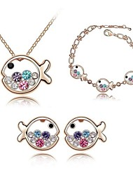 cheap -Women's Crystal Jewelry Set - Crystal Include Rose / Blue / Rainbow For Wedding Party Daily / Earrings / Necklace / Bracelets & Bangles