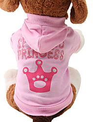 Cat Dog Hoodie Dog Clothes Breathable Cute Fashion Tiaras & Crowns Pink Costume For Pets