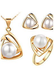 cheap -Women's Crystal Jewelry Set Rings Earrings Necklace - White Black Gray Gold / White Gold / Black For Wedding Party Daily Casual