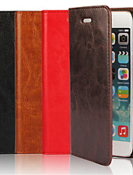 Genuine Leather Crazy Horse Flip Cover Wallet Card Slot Case with Stand for iPhone 6s 6 Plus