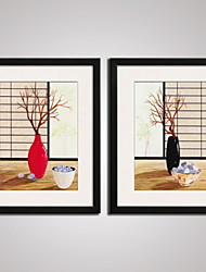 cheap -Framed Modern Canvas Art  Simple Flower and the Branches for Diningroom Decoration Set of 2 Ready To Hang