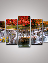 cheap -5 Panels Red Maple Tree and the Waterfall Landscape Canvas Print Art for Livingroom Decoration Unframed
