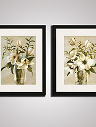 cheap -Framed Beige  Flowers  Picture Print  on Canvas  for Office Decoration 40x50cmx2pcs Ready To Hang