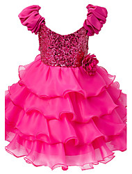cheap -Baby Girl's Fuchsia Dress Polyester Floral Evening Party Wedding Bridesmaid Cake Dresses with Puff Sleeve and Sequin Top