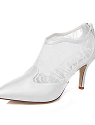 Women's Shoes Silk Winter Spring Summer Fall Comfort Stiletto Heel Pointed Toe For Wedding Dress Party & Evening White