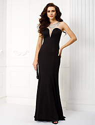Mermaid / Trumpet Scoop Neck Sweep / Brush Train Jersey Black Tie Gala Dress with Beading by TS Couture®
