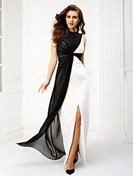Eng anliegend Bateau Hals Boden-Länge Chiffon Ball Formeller Abend Kleid mit Überkreuzte Rüschen durch TS Couture®