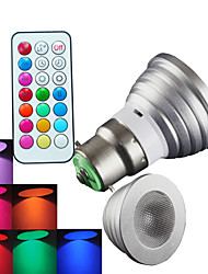 B22 LED Spotlight MR16 1 High Power LED 300 lm RGB RGB K Dimmable Remote-Controlled Decorative AC 100-240 V