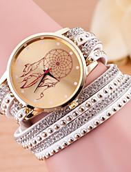 Недорогие -Жен. Кварцевый Часы-браслет Повседневные часы Кожа Группа Кулоны Мода Черный Белый Синий Красный Зеленый Розовый Фиолетовый Роуз
