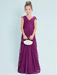 cheap -Sheath / Column V Neck Floor Length Chiffon Junior Bridesmaid Dress with Draping Ruched Criss Cross by LAN TING BRIDE®