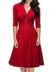 Robe Aux femmes Patineuse Soirée , Couleur Pleine Col en V Mi-long Polyester
