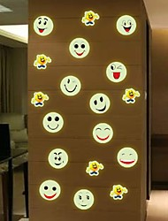 Diy Removable Luminous Wall Stickers Vinyl Cartoon Smiling Face Home Decor Mural Decal Poster Decals