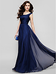 A-Line Princess Scoop Neck Floor Length Chiffon Homecoming Formal Evening Holiday Dress with Criss Cross Ruching by TS Couture®