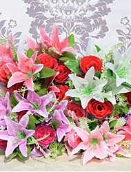 12 Heads Lilies Roses Flowers Silk Flower Silk Artificial Flowers for Home Decoration Flower Kit