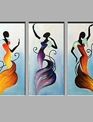 Dipinta a mano RitrattiModern Tre Pannelli Tela Hang-Dipinto ad olio For Decorazioni per la casa