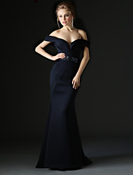 Mermaid / Trumpet Off-the-shoulder Sweep / Brush Train Polyester Formal Evening Dress with Beading Sash / Ribbon by Huaxirenjiao