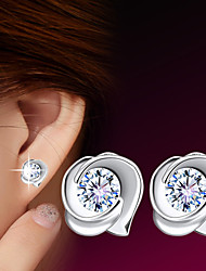 cheap -2016 Korean Unisex 925 Silver Sterling Silver Jewelry Zircon Earrings Sample Rose Stud Earrings 1Pair