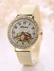 Women's Vintage Watch White Flower Crystal Imitation Diamond Case Steel Gold Band Wrist Watch Jewelry for Wedding Party