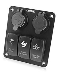 Недорогие -водонепроницаемый 3 банды под руководством тумблер& 4 USB панель розетки для морских / лодки / Стоянки 12v