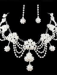 baratos -Mulheres Outros Conjunto de jóias Brincos / Colares - Regular Prateado Para Casamento / Festa / Ocasião Especial