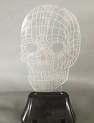Visual 3D crânio mudança de cor levou decoração usb lâmpada de tabela colorida do presente de luz noturna