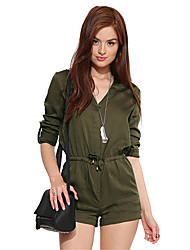 Women's Solid Green Jumpsuits , Casual / Day Shirt Collar Long Sleeve
