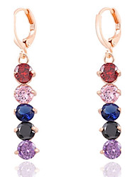 Viseće naušnice Zircon Legura Crn Crvena Plava Pink Duga Jewelry Za Vjenčanje Party Dnevno Kauzalni Sport 1set