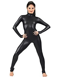 cheap -Zentai Suits Ninja Zentai Cosplay Costumes Black Solid Colored Leotard / Onesie Zentai Spandex Shiny Metallic Men's Women's Halloween