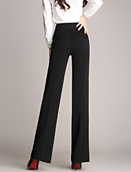 cheap -Women's Plus Size Straight Business Pants - Solid Colored High Rise